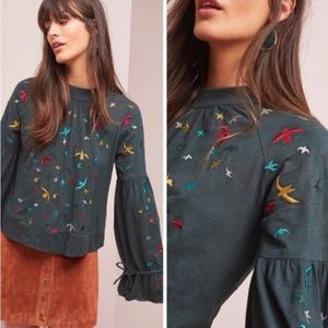 Anthropologie Ranna Gill Egret Embroidered Peasant